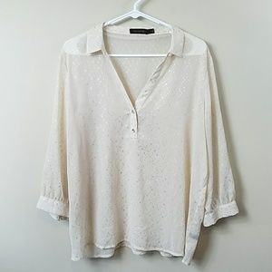 The Limited Semi-sheer Cream & Silver Dot Blouse